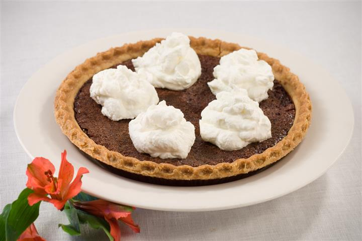 Pie topped with ice cream
