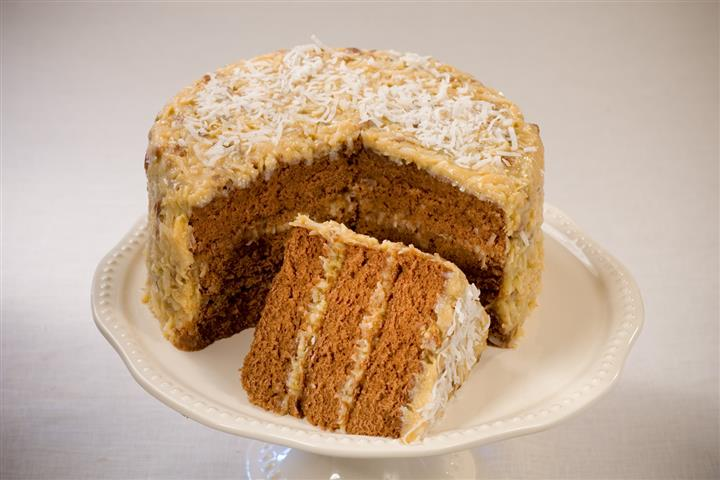 Cake with topped with coconut shreddings