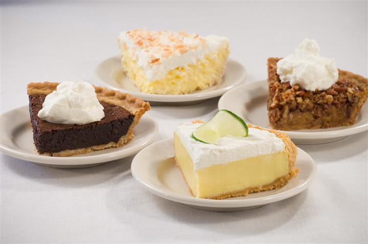 Assortment of different slices of pies
