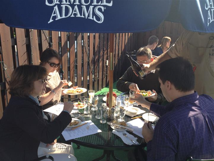 People dining at an outdoor patio