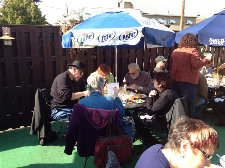 People sitting at a table at the patio