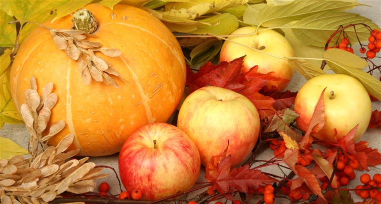 pumpkin, and apples arranged with red and green leaves