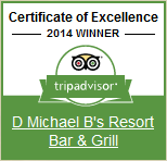 certificate of excellence 2014 winner trip advisor. D michael B's Resort Bar & grill