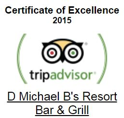 certificate of excellence 2015 trip advisor. D michael B's Resort Bar & grill