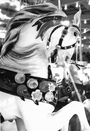 Vintage photo of a carousel horse