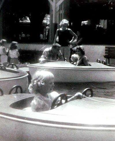 Vintage photo of people on a boat theme attraction