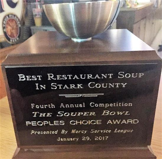 Award trophie for restaurant awarded to the establishment with the best soup in stark county