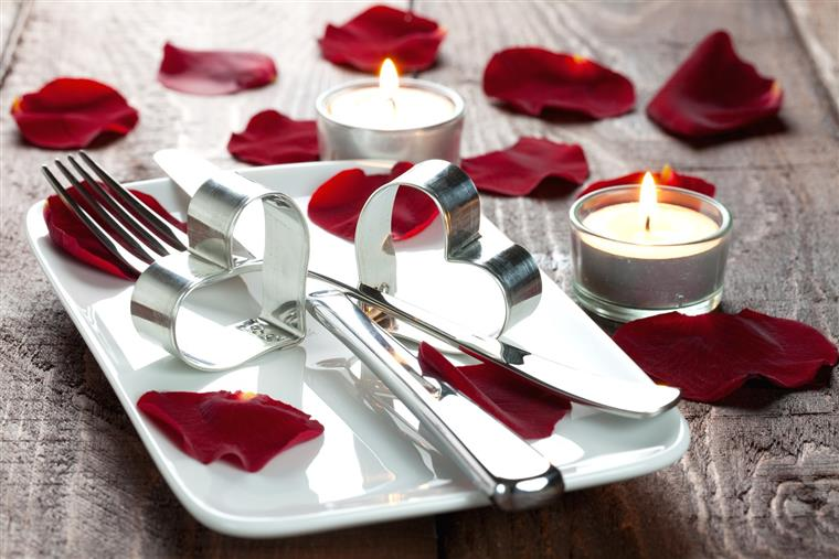 Plate Settings with Heart and Candle