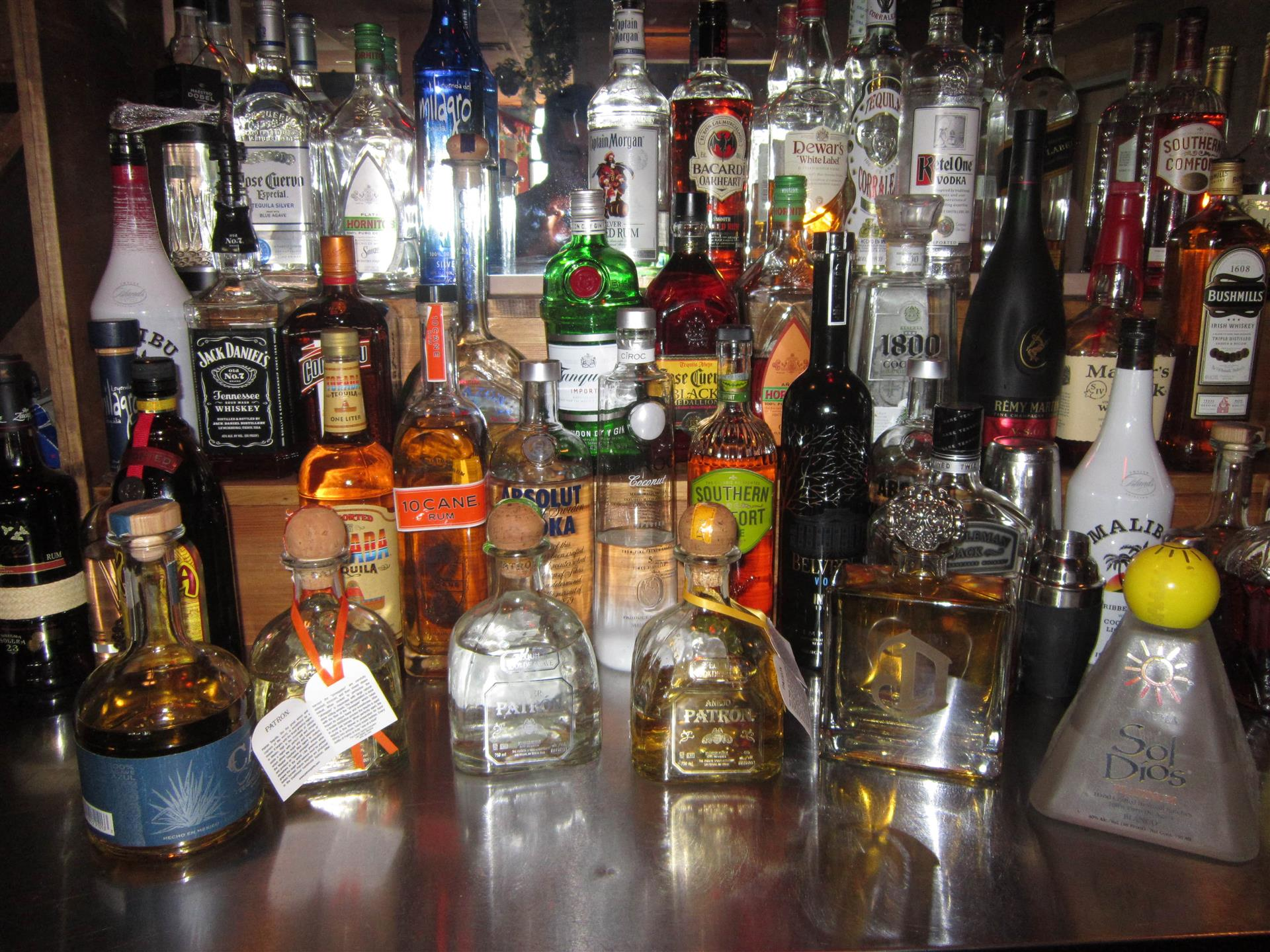 Bottles of liquor on a bar