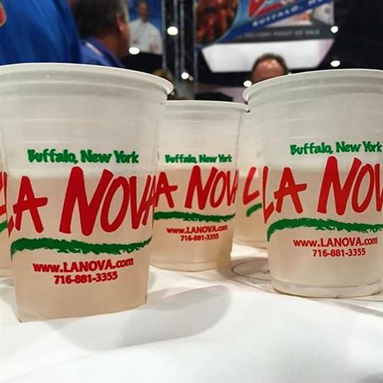 Cups of beer with La Nova wings branding