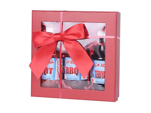 BBQ sauces in a gift box with a bow