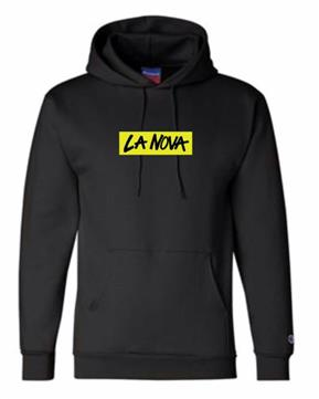 "black hoodie with ""La Nova"" logo in neon yellow and black"