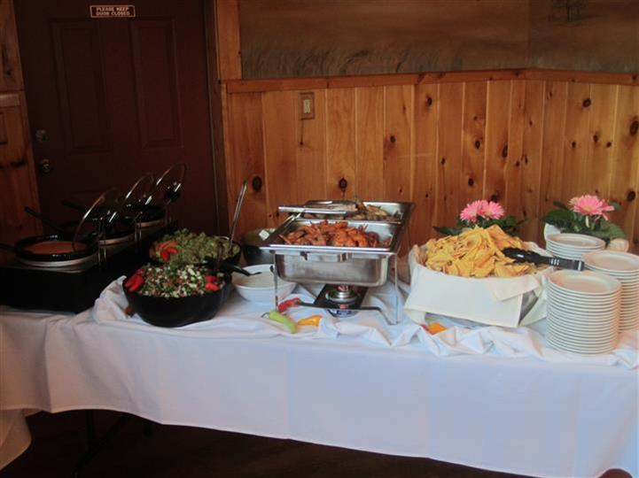 catering table with buffet trays