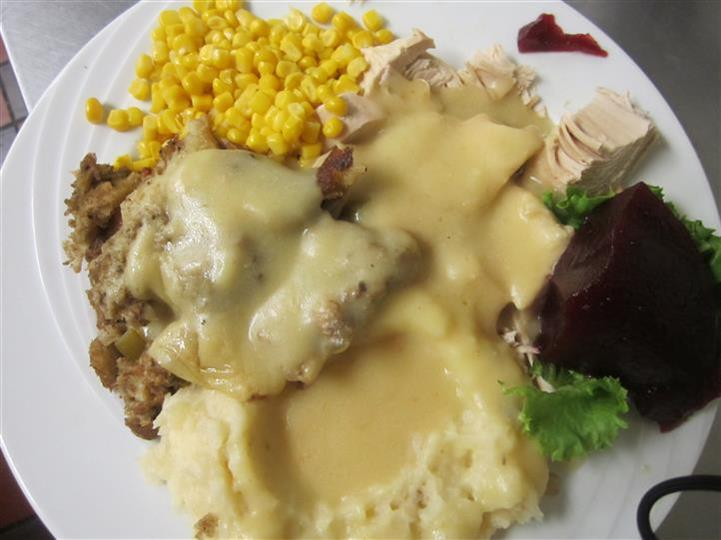 country fried steak, corn, mashed potatoes topped with gravy