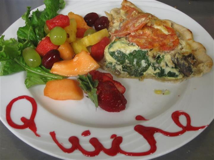 quiche with fruit salad
