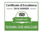 Trip advisor 2014 winner. Certificate of excellence. Shulas grill and crab