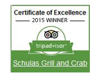 Trip advisor 2015 winner. Certificate of excellence. Shulas grill and crab