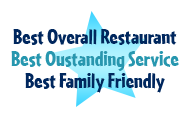 Best overall restaurant, best outstanding service, best family friendly
