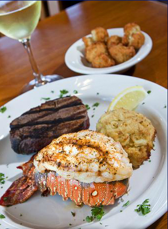 Filet mignon, lobster tail and jumbo lump crab cake. White wine and appetizer.