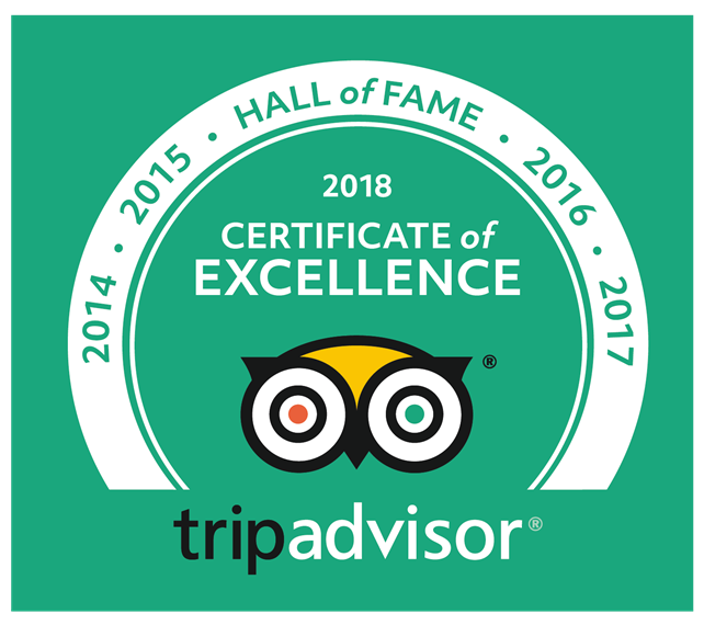 Trip advisor 2018 certificate of excellence. Hall of fame 2014, 2015, 2016, 2017