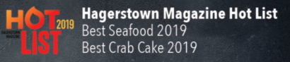 Hagerstown magazine hot list, best seafood 2019, best crab cake 2019