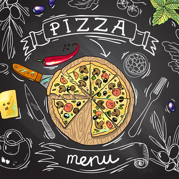 Cartoon drawing of pizza pie on chalkboard. Text reading Pizza Menu.