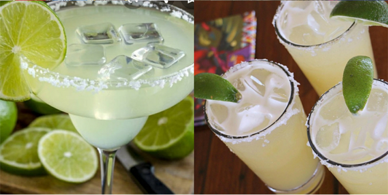 2 Margaritas with salted rims and Limes