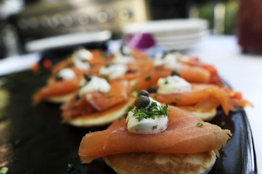 smoked salmon on circular bread