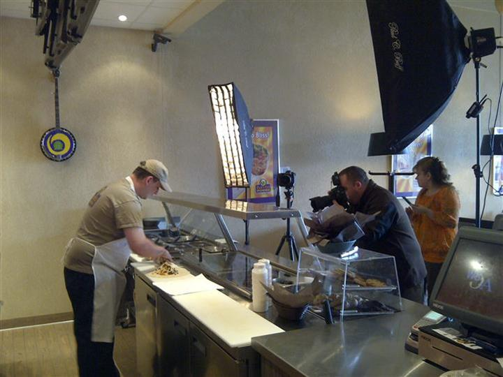 Photo shoot of food preparer in action