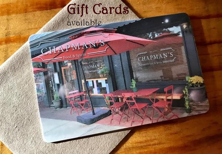 Chapman's Food & Spirits Gift Card on table