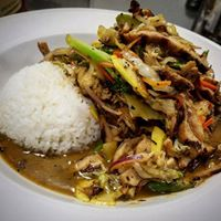 Jerk chicken stir fry with sticky rice and vegetables