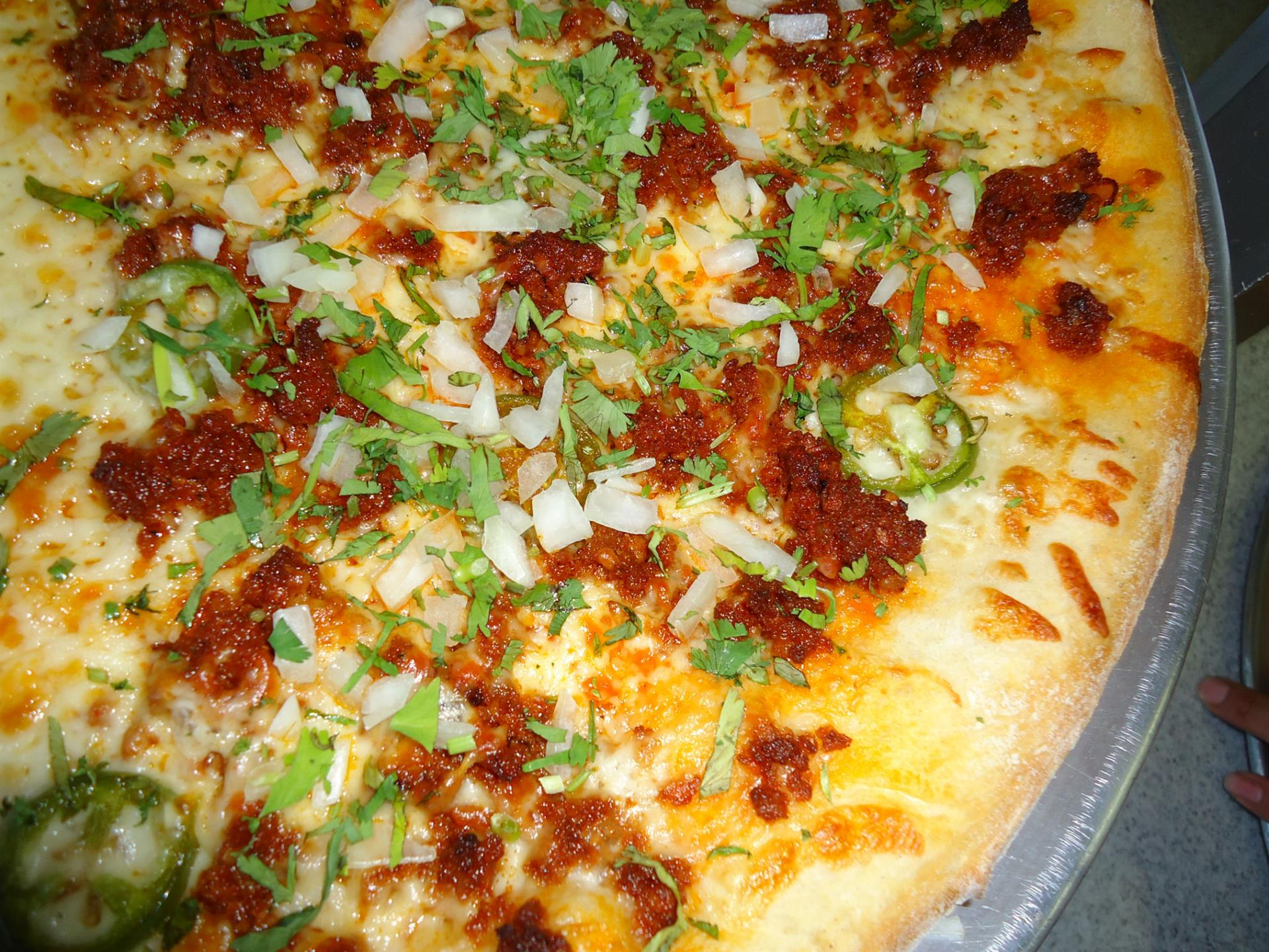 Our famous Chorizo & Jalapeño Pizza