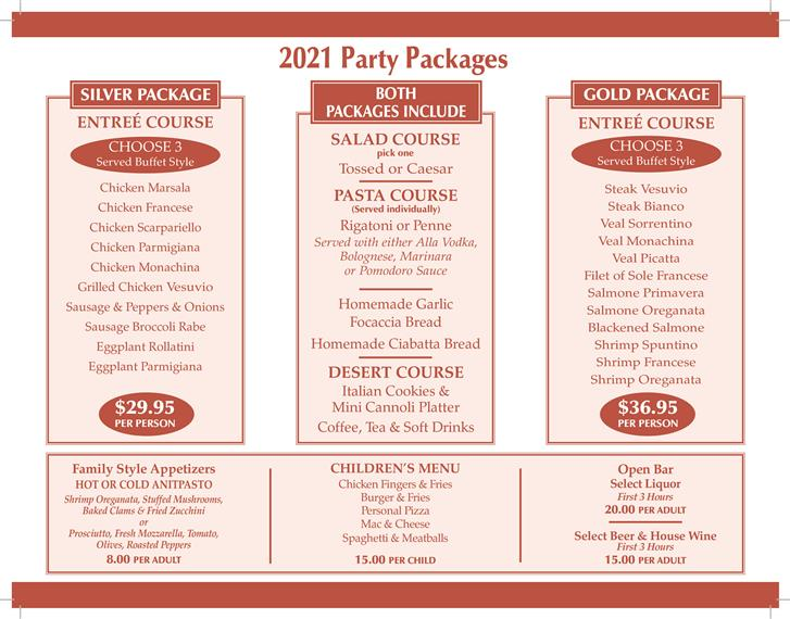 Spuntino Party Packages 2021
