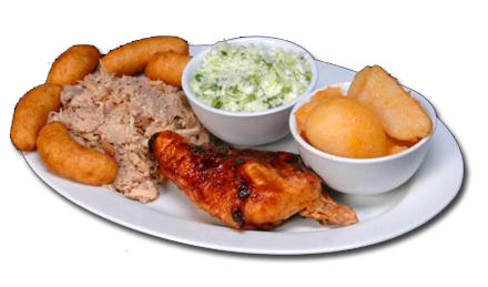 bar-b-que chicken with coleslaw and various sides