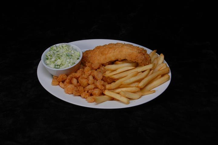 fish with popcorn shrimp, coleslaw and fries