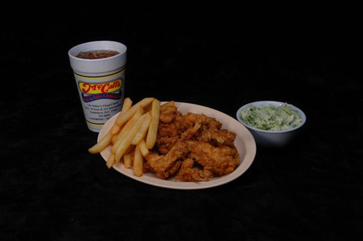 coleslaw, a drink, chicken strips and fries
