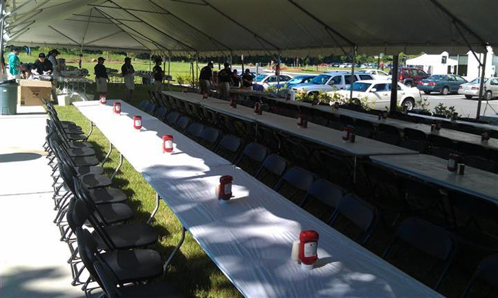 long table with ketchup