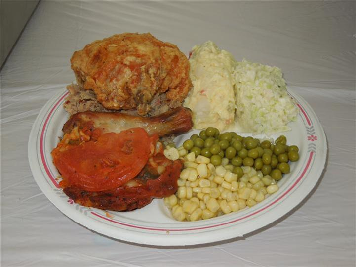 fried chicken with sides on a plate