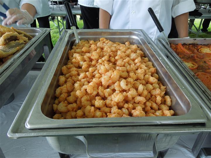 food in a buffet tray