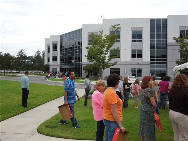 people outside at an event