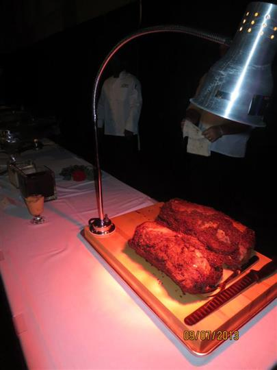 meat under a hot lamp