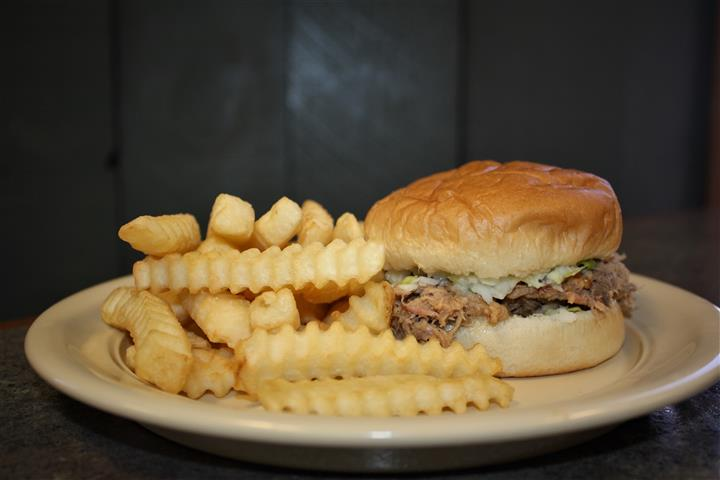 bar-b-que sandwich with fries