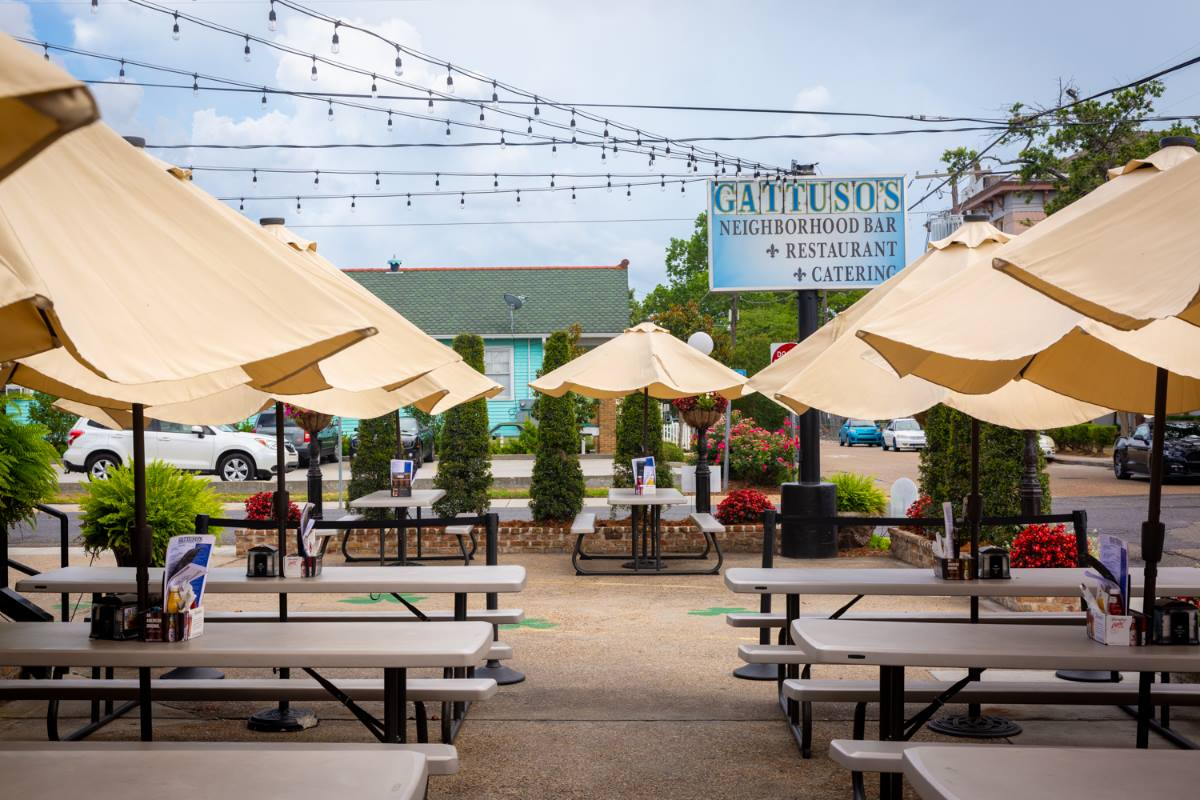 Photo of the outdoor restaurant's tables and umbrellas