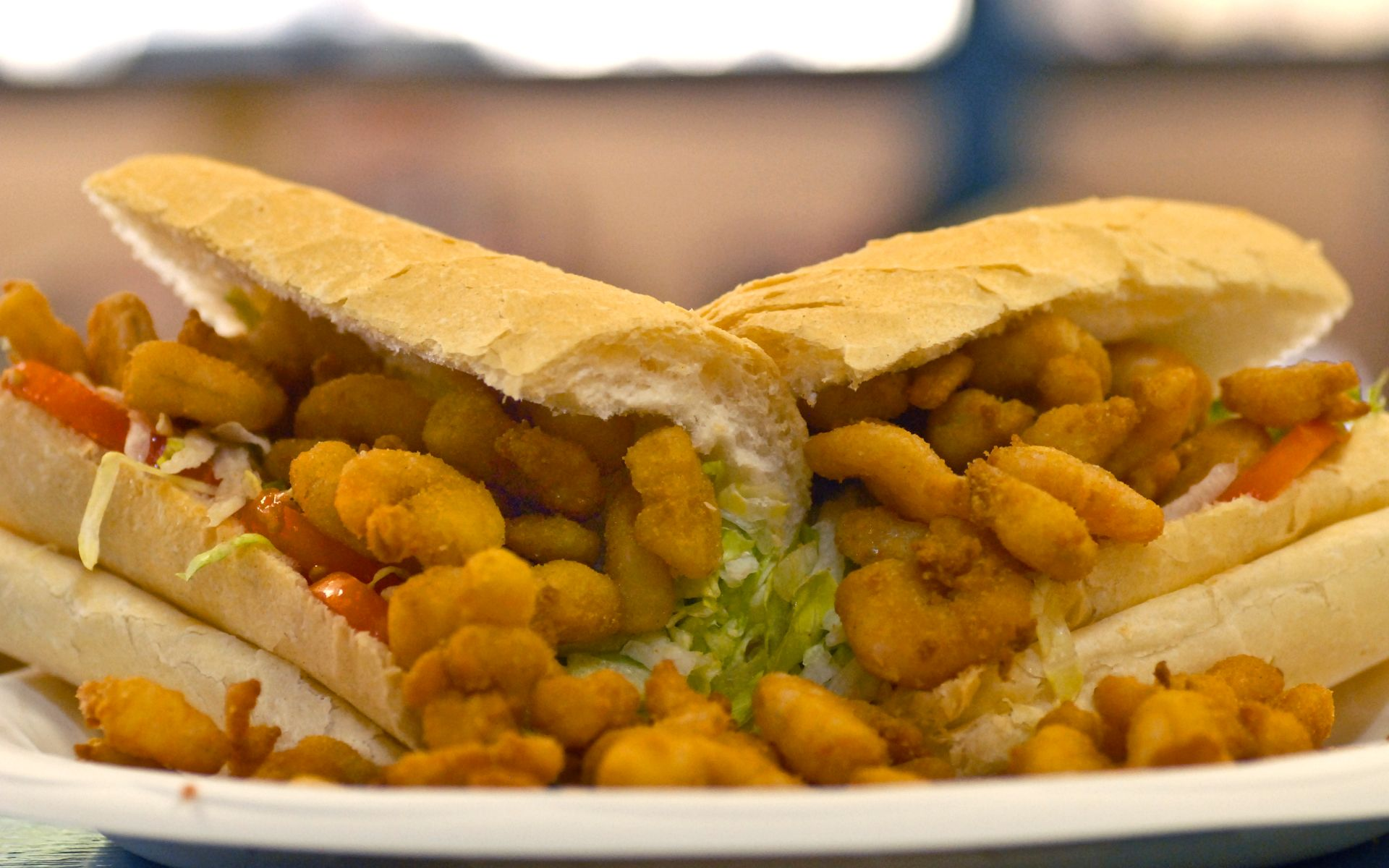 Fried shrimp poboy with lettuce and tomato