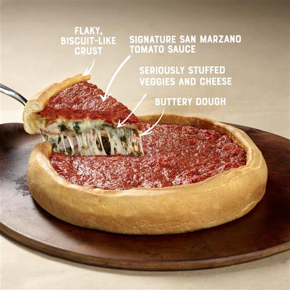 "deep dish pizza on a platter with a slice being taken out and text that says  ""Flaky, Biscuit-Like Crust 