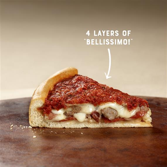 "a slice of stuffed thick crust deep dish pizza on a wood table with text that says ""4 Layers of Bellissimo!"""