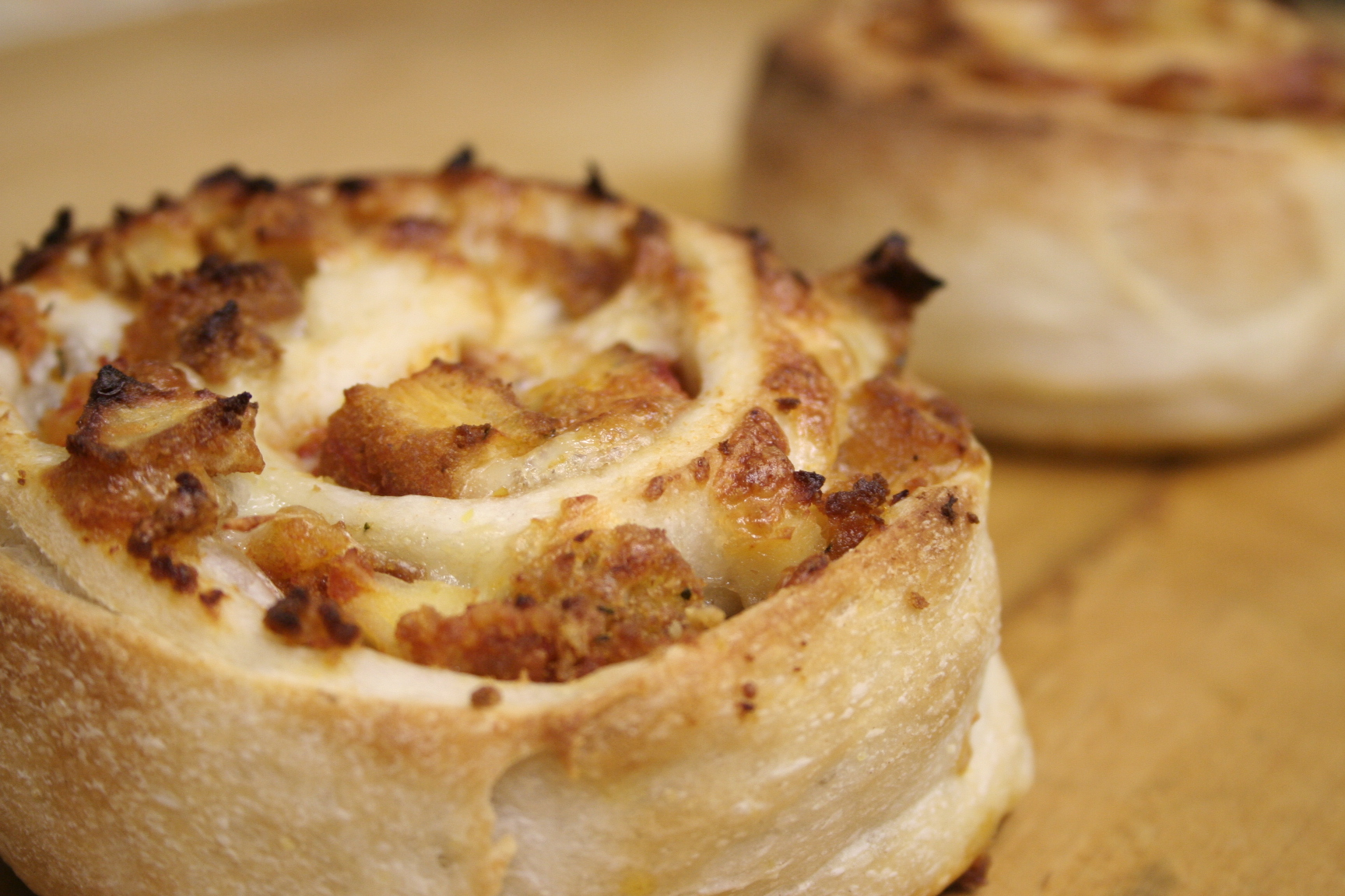 Pinwheel stuffed with chicken cutlet and cheese