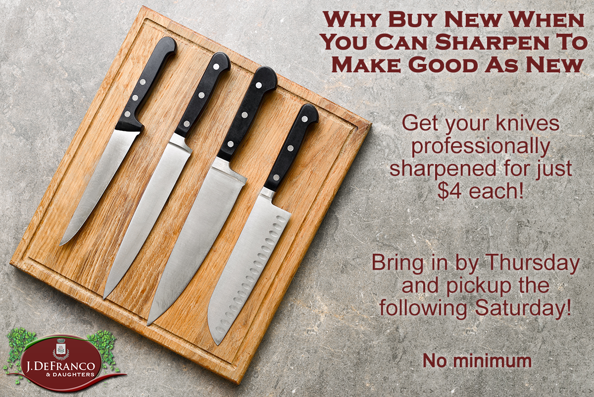 why buy new when you can sharpen to make good as new get your knives professionally sharpened for just $4 each! bring in by thursday and pickup the following saturday! no minimum