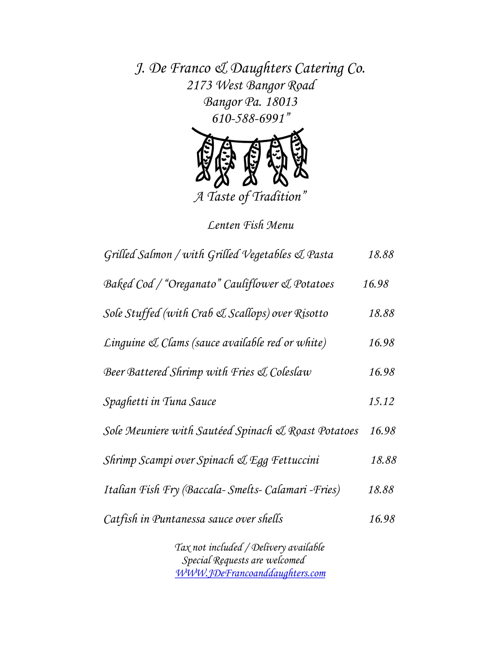 Click to view/print our lenten specials