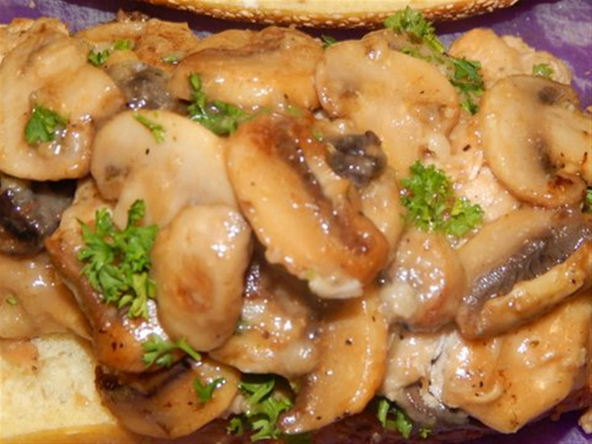 entree topped with mushrooms
